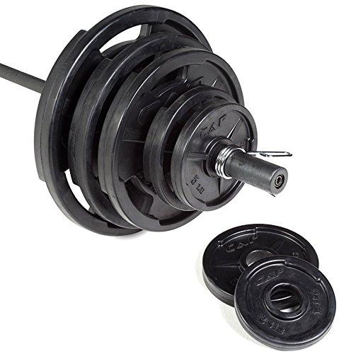 CAP Barbell Grip Plate Olympic Weight Set, 300 lb, Medium, Black