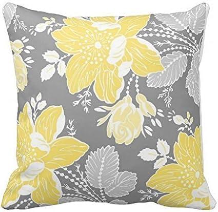 Amazon.com: Decorbox Pretty amarillo gris blanco floral ...