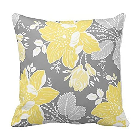 Amazon.com: Decorbox Pretty amarillo gris blanco floral ...