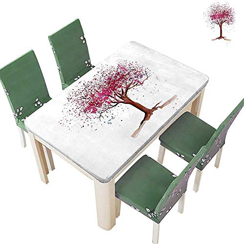 - Printsonne Polyester Fabric Tablecloth Blossom Buds Sakura Tree in Beauty Sence Work Magenta Redwood Suitable for Home use 50 x 72 Inch (Elastic Edge)