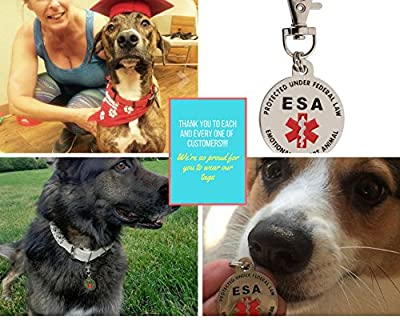 DOUBLE SIDED Emotional Support Animal (ESA) Red Medical Alert Symbol and Protected by Federal Law 1.25 inch ID Tag. QUICK RELEASE metal lobster clamp allowing you to switch between collars and vest. by K9King