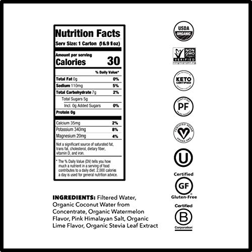 NOOMA Organic Electrolyte Sports Drink, Naturally Hydrating, Coconut Water Base, Certified Keto, Vegan, Gluten Free and More, No Added Sugar, 30 Calories, Watermelon Lime 16.9 Fl Oz, Pack of 12 2