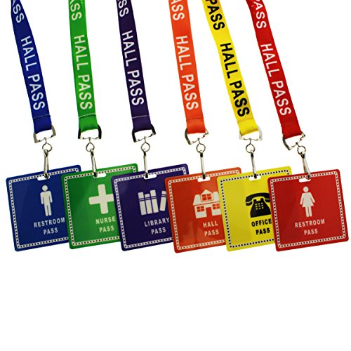 6 Pack - Hall Pass Lanyards with Unbreakable Card Passes & Safety Breakaway Lanyards (Hall, Bathroom, Library, Office & Nurse Placards) - Classroom/School Supplies for Teachers by Specialist - Pass Hall