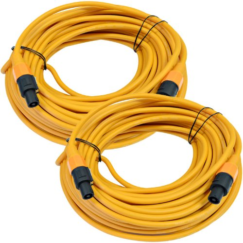 Seismic Audio TW12S100Orange-Pair Pair of 12 Gauge 100-Feet Orange Speakon to Speakon Speaker Cable by Seismic Audio