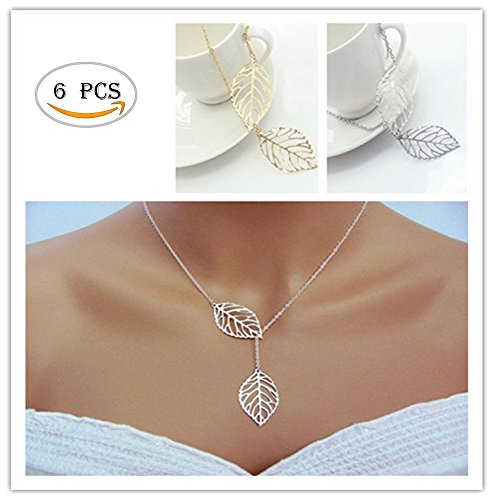 Price comparison product image Fireboomoon 6PCS Minimalist Dainty Gold Silver Womens Necklace Metal Double Leaf Pendant Alloy Choker Chain