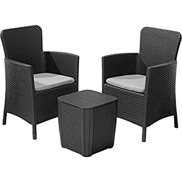 Beautiful Allibert Keter Miami Rattan Effect Balcony Patio Garden Dining Set With  Table And 2 Chairs
