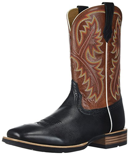 Ariat Men's Quickdraw Western Boot, Black Deer tan/Washed Adobe, 10.5 D US