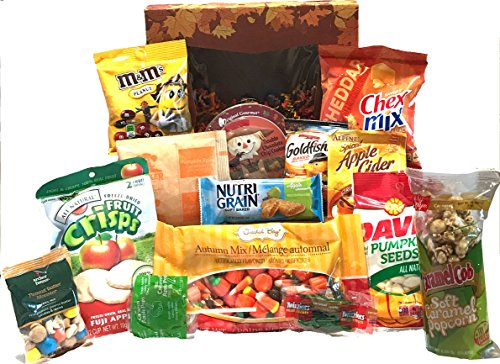 Fall Gift - Autumn Gift - Campus Care Package - Miss You Gift! Great Gift Basket for Wishing a Happy Thanksgiving! (Fall Snack Pack!)