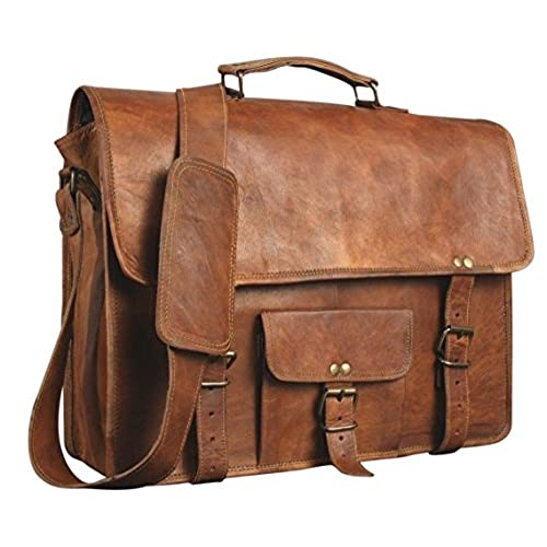 SKH 15 Inch Touch Pocket Leather Messenger Laptop Case Satchel Brown