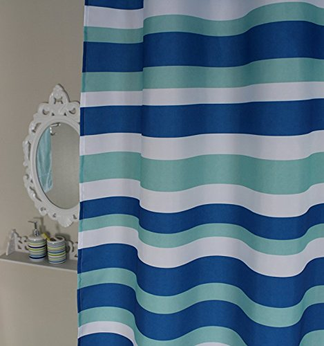 Welwo Blue White Horizontal Striped/Stripes Extra Long Shower ...