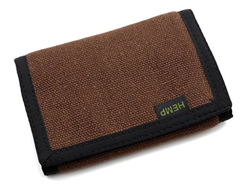 Chocolate Mens Wallets - Hempmania Hemp Eight Compartment Tri-fold Wallet - Chocolate - One Size