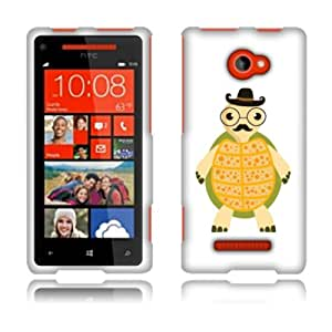 Fincibo (TM) HTC Windows Phone 8X Zenith 6990 Hard Plastic Snap On Protector Cover Case Front And Back - Cute Gentlemen Turtle