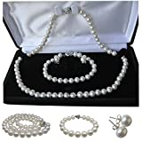 """Product review for Pearl Romance 20"""" inch 3pc Set Cultured Round White Strand Pearl Necklace Bracelet Stud Earrings Genuine Freshwater 6mm 7mm 8mm 9mm 10mm 11mm"""