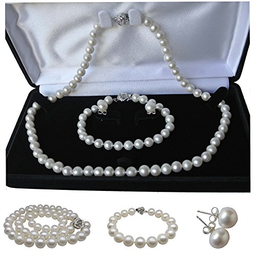 Pearl Romance Round White Strand Pearl Necklace Bracelet Stud Earrings 3pc Set Genuine Cultured Freshwater 6mm 7mm 8mm 9mm 10mm 11mm (20, 7.0-7.5mm) ()