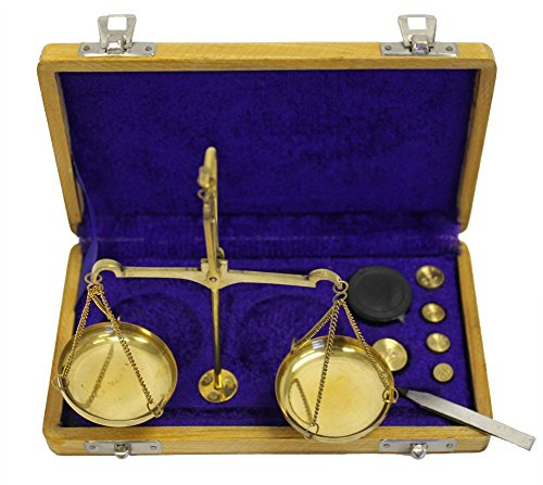 Brass Scales 100 gram Traditional Balance wooden case Antique Scale