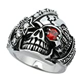 Surgical Steel Biker Skull Ring Red CZ Eye & Eye patch Crown on each side 1 inch long, Sizes 9 - 15