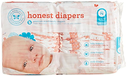 The Honest Company Baby Diapers - Multi Coloered Giraffes - Size 0 - 40 ct