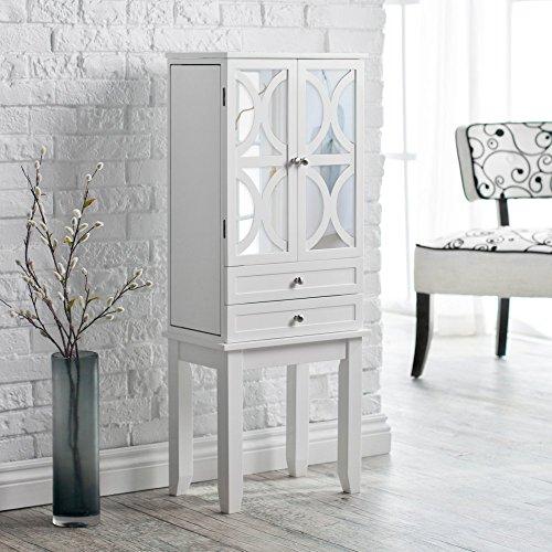 Belham Living Mirrored Lattice Front Jewelry Armoire - High Gloss White ()