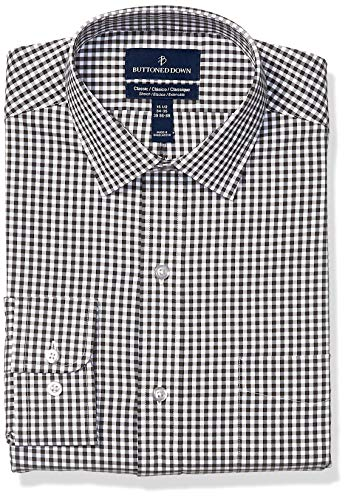 BUTTONED DOWN Men's Classic Fit Tech Stretch CoolMax Easy Care Dress Shirt, Black Gingham, 20