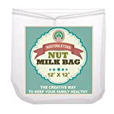 """Traditional Kitchen Nut Milk Bag - Strainer & Cheesecloth Food Grade - Almond Milk, Yogurt and Juice Maker - Cold Brew Coffee Filter – Reusable bags - Fine Mesh Nylon - Perfect quality & size 12""""x12"""""""