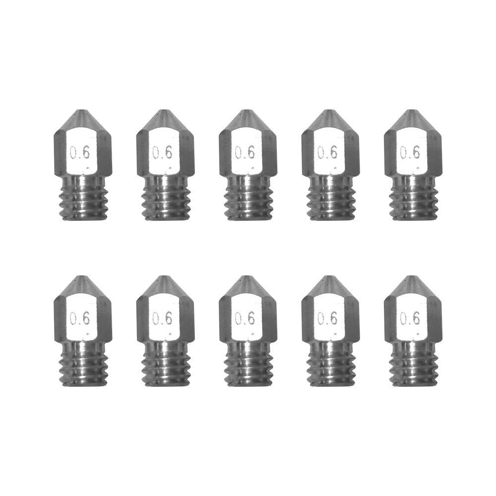 Festnight 10pcs lot MK8 M6 filet/é en acier inoxydable//buse en laiton 1.75mm 0.2//0.3//0.4//0.5mm pour les pi/èces de limprimante 3D