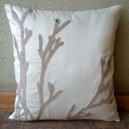 Handmade White Throw Pillows Cover, Metallic Beaded Willow Pillows Cover, Pillow Covers 20