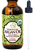 #1 Organic Moroccan Argan Oil, USDA Certified Organic,100% Pure & Natural, Cold Pressed Virgin, Unrefined, Amber Glass Bottle w/ Glass Eye Dropper for Easy Application, US Organic, (2 oz (60ml))