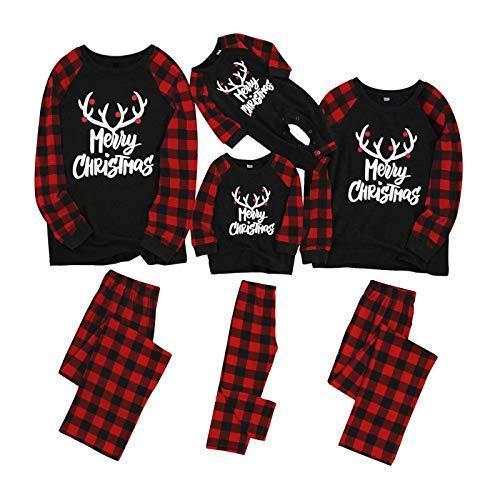 Yaffi Matching Family Pajamas Sets Christmas PJ's with Letter Printed Long Sleeve Tee and Red Plaid Pants Loungewear Men: L (Pajamas His Her Christmas)