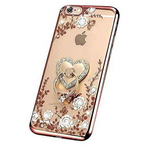 IKASEFU Luxury Bling[White Flower+Love Heart Ring Support] Rose Gold Frame Rhinestone Transparent Clear Case Cover Compatible with iPhone 7 Plus 5.5