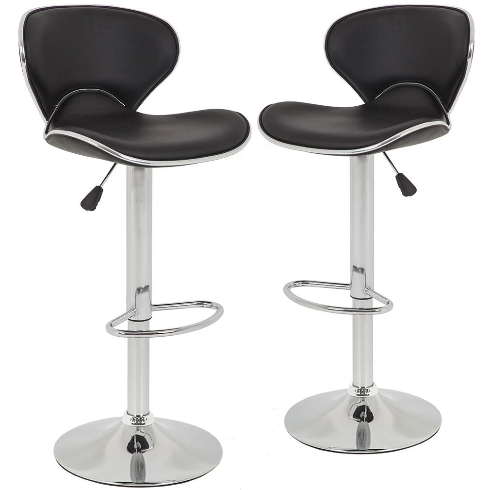 Bar Stools Counter Height Adjustable Bar Chairs With Back Barstools Set of 2 PU Leather Swivel Bar Stool Kitchen Counter Stools Dining Chairs by BestOffice