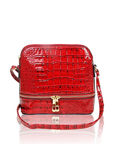 New Small Shine Bag Croc Print Shoulder Wine Red Crossbody Leather Handbag Womens Patent BBnrqFpw