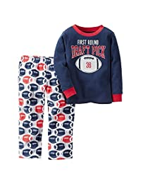 Carter's Boy's Size 7 Draft Pick Football Cotton Pajama Top, Fleece PJ Bottoms