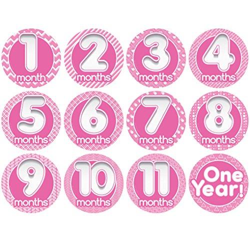 "Price comparison product image Original Stick'Nsnap(TM) ""Happy Bubbles"" Pink 12 milestones stickers. 3.25''"