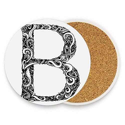 (HappyToiletLidCoverX Letter B Black White Abstract Swirls Classic Design Alphabet Uppercase B Symbol Print Black White Coaster for Drinks,Wallpaper Ceramic Round Cork Table Cup Mat Coaster Pack Of 1)
