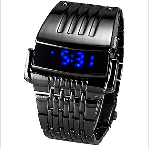 Amazon com: Fashion Men Full Steel Watch Iron Man Blue LED