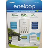"Sanyo Eneloop Ni-MH Charger (with 8 ""AA"" and 2 ""AAA"" Batteries, Plus 2 ""C"" and 2 ""D"" Adpaters)"