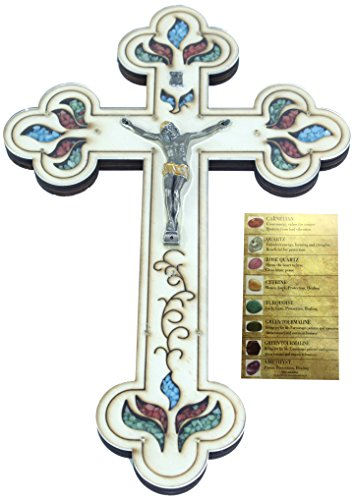 Jesus Christ Wall Cross - Vintage Crucifix filled with semi precious stones from the Holy Land - 14 Inches