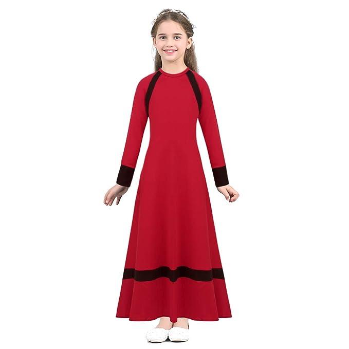 b2e293071e CHICTRY Niñas Maxi Vestido Largo Musulmanes islámica árabes Islam Litúrgico  Traje Ropa de Baile Manga Larga Disfraz Caftán Túnica Medio Oriente Dubai  Saudi  ...