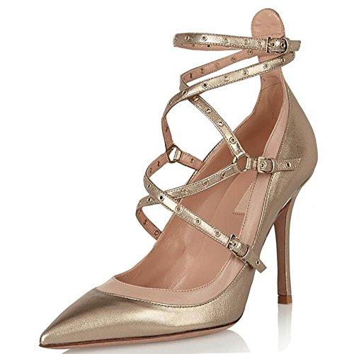 SYYAN Mujeres Puntiagudo Hueco Correa Cruzada Hecho A Mano Bomba Vestir Zapatos ORO Gold