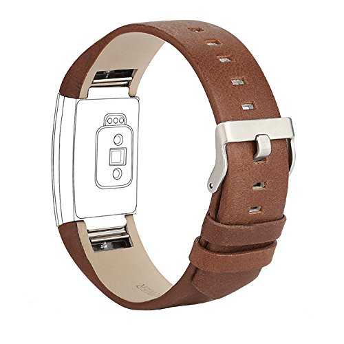iGK Leather Replacement Bands Compatible for Fitbit Charge 2, Genuine Leather Wristbands Coffee Brown