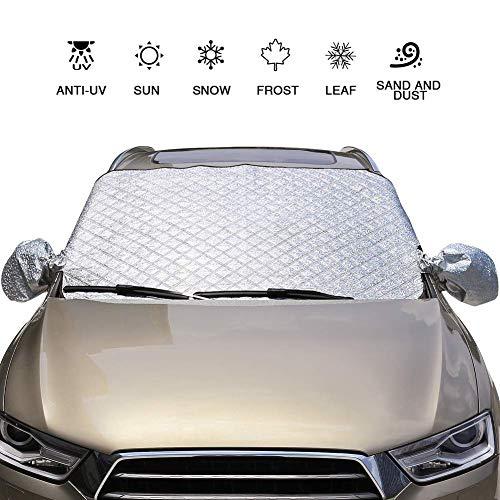 AUTOWN Frontscheibenabdeckung Auto Sommer, Scheibenabdeckung Auto groß,Abdeckung für die Windschutzscheibe,Sonnenschutzabdeckung 147×100 cm