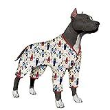 LovinPet Large Dog Clothes Dog Shirt Post Surgery Wear Cotton Airplane Big Dog PajamasForPitbullsLabradorRetrieverBoxerLargeDogs (Please Read Description)