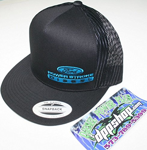 ford powerstroke trucker Flat bill ball cap hat snap back mesh classic electric blue black