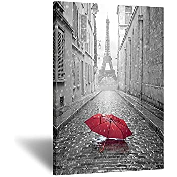 Black and white romantic paris street contemporary art poster prints eiffel tower with red umbrella photography framed wall mounting ready to hang 24x36inch