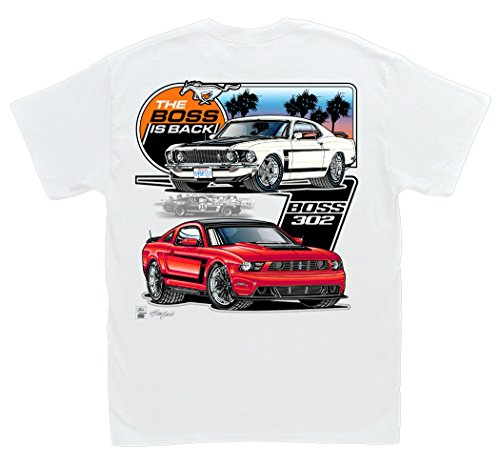 Hot Shirts Ford Mustang - The Boss Is Back White T-Shirt: XL - Boss 302 Mustang 1969 1970 2012 2013 2014