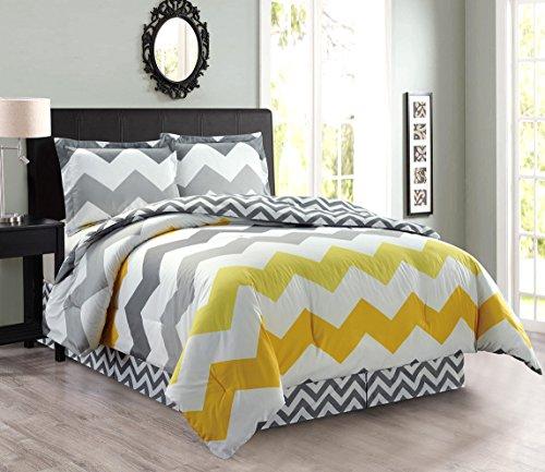 4-Piece Oversize Zigzag Reversible Designer Goose Down Alternative Comforter Set Full Size Bedding (Yellow, Grey, White)