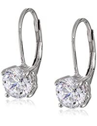 Platinum or Gold-Plated Sterling Silver Swarovski Zirconia Round Dangle Earrings (2 cttw)