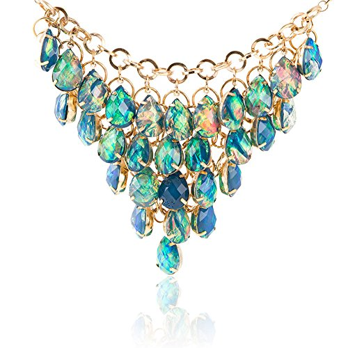 Drop Cubic Zirconia Beads Pendants (Evbea Vintage Gold Shine Multilayer Water Drop Bead Pendant Necklace Crystal Wave Collar Necklace (Green))