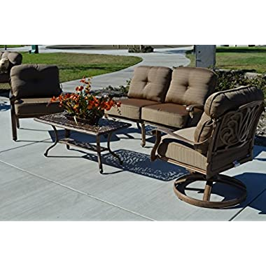 Elizabeth Outdoor Patio 5pc Set Seating Mocha Color Solid Cast Aluminum, Walnut Cushions