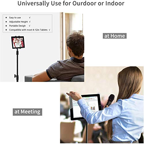 """Phone and iPad Tripod Stand, Dream-C Foldable iPad Floor Stand 20 To 50 Inch Height Adjustable 360 Rotating Tablet Tripod Mount for iPad Mini, iPad Pro 10.5"""" 9.5'' all 4-12 Inch Devices, Carrying Bag"""